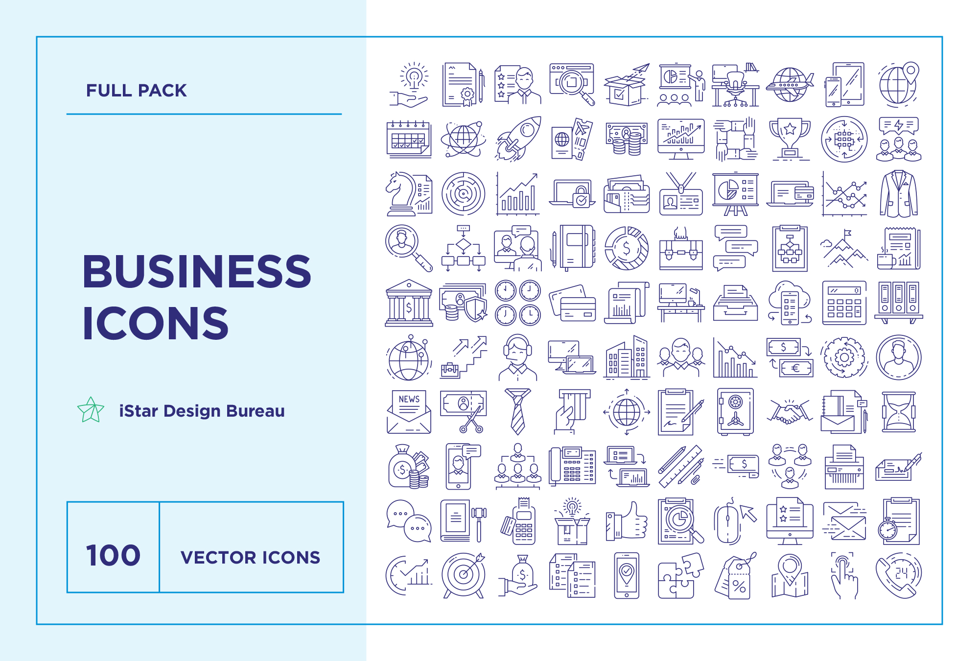 Modern Business – 100 Line Icons