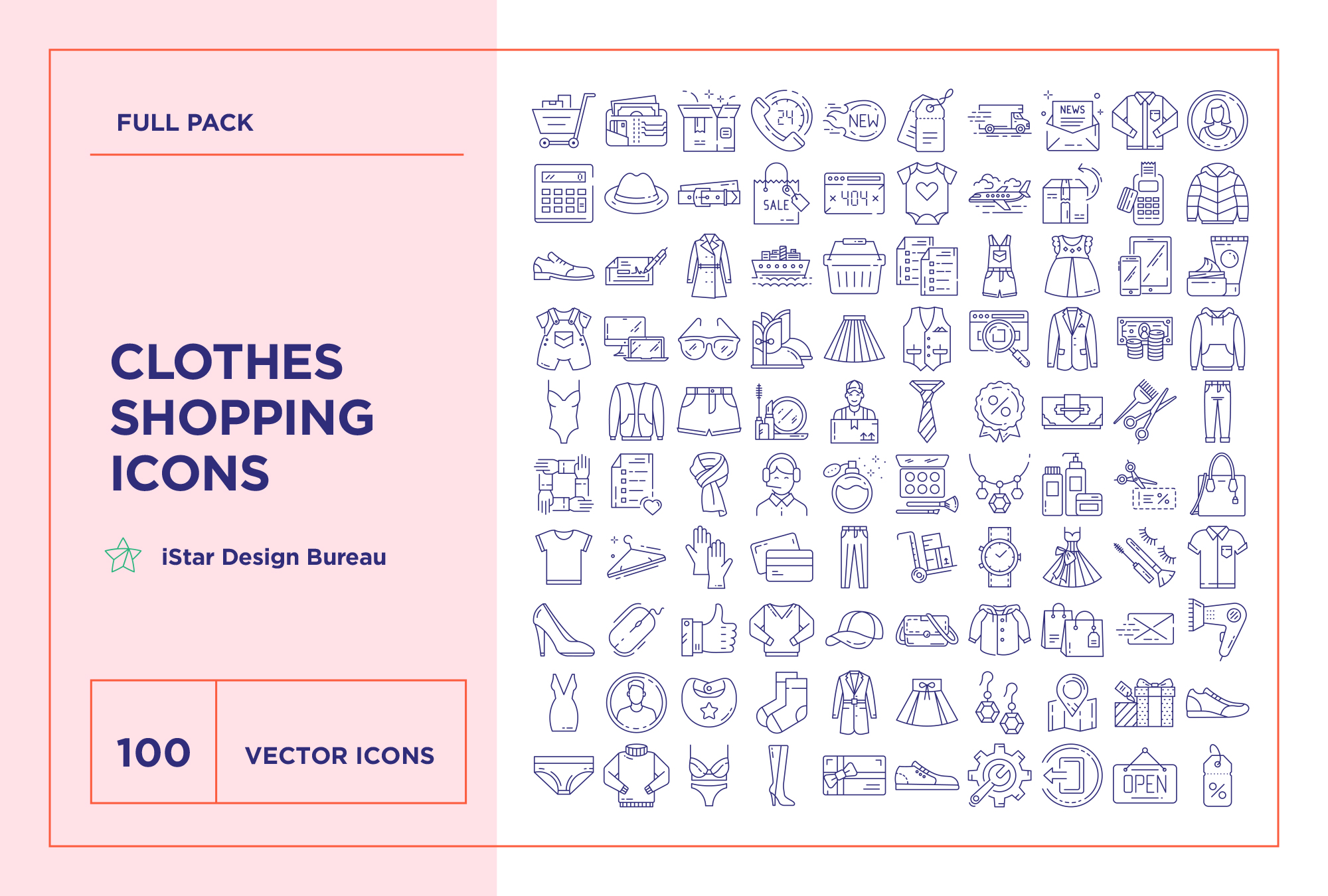 Online Clothes Shopping – 100 Line Icons