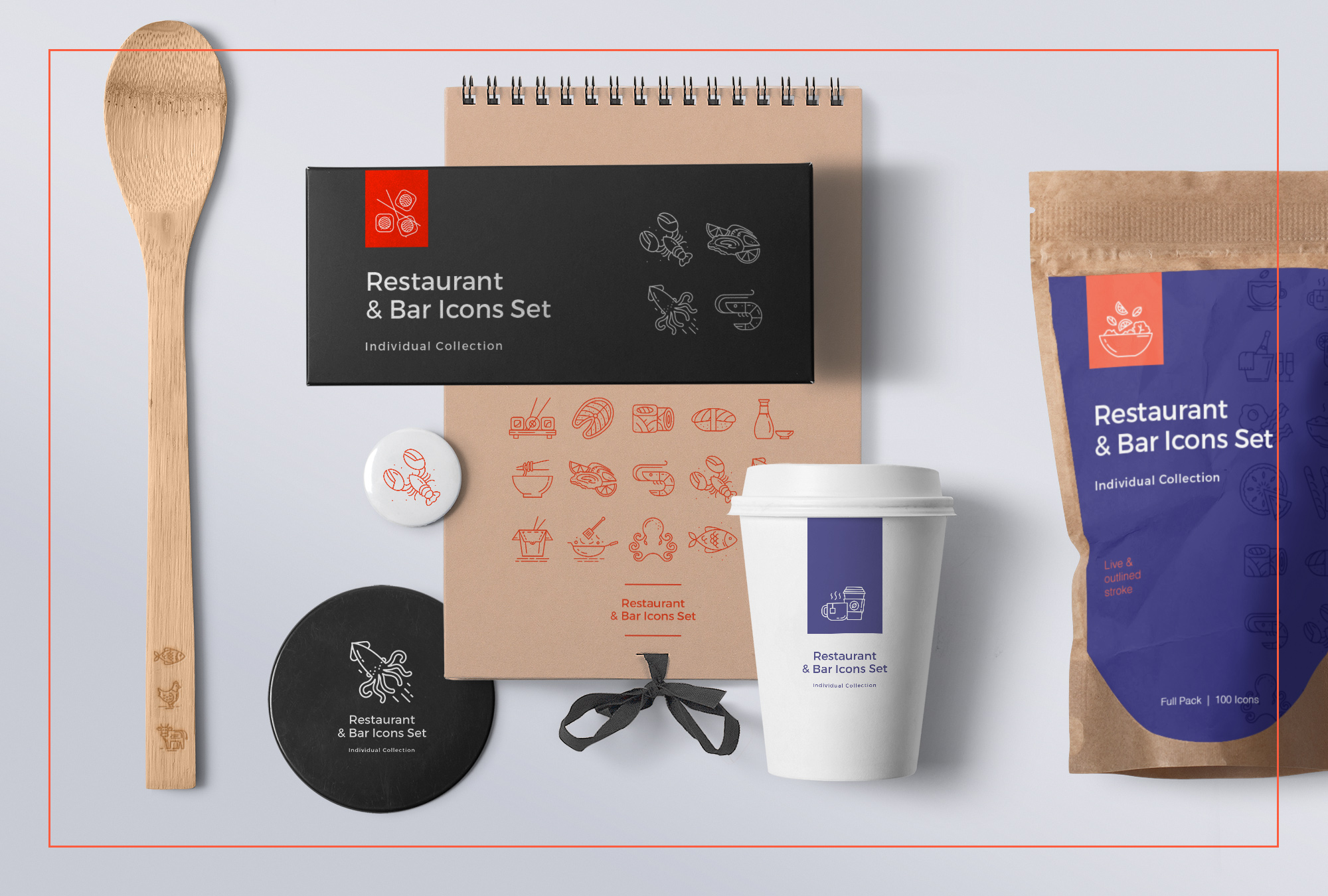 Food & Drinks – 100 Line Icons
