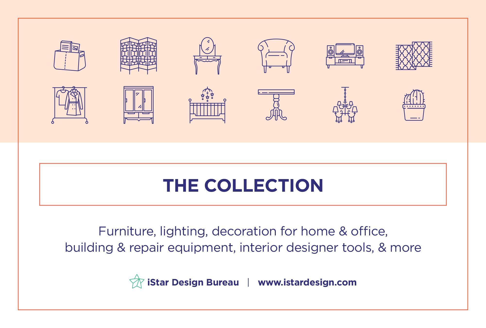 Interior Design 100 Line Icons