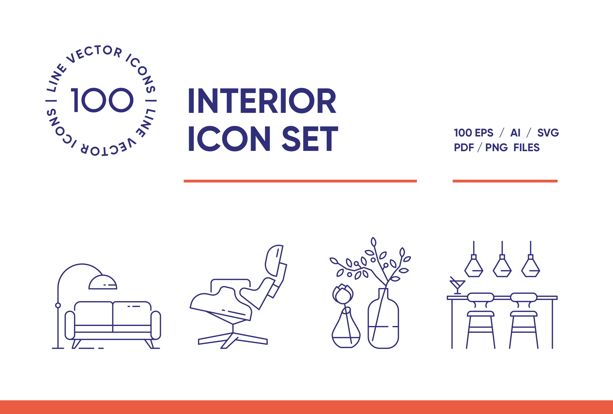 Interior Design – 100 Line Icons