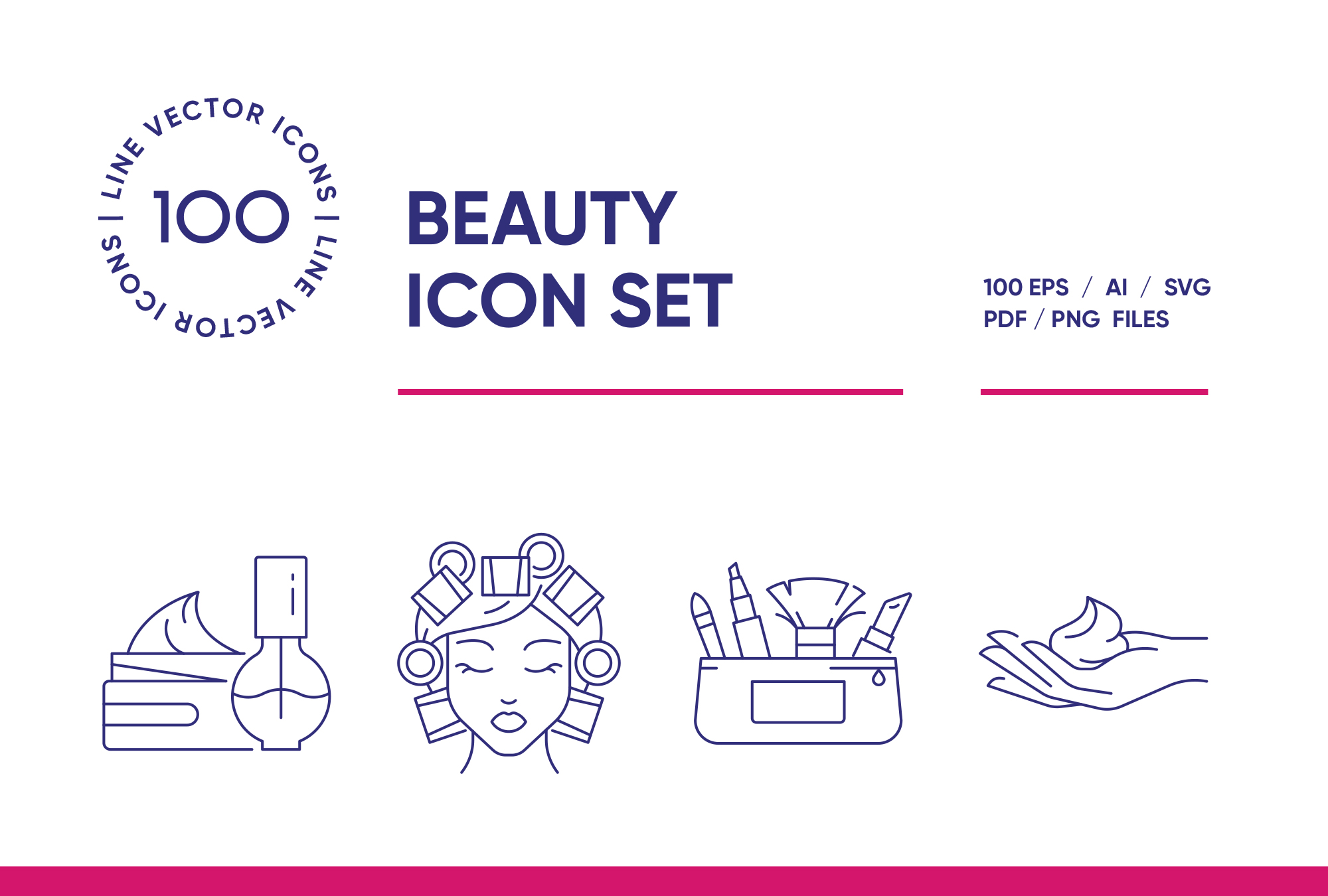 Beauty & Cosmetics – 100 Line Icons
