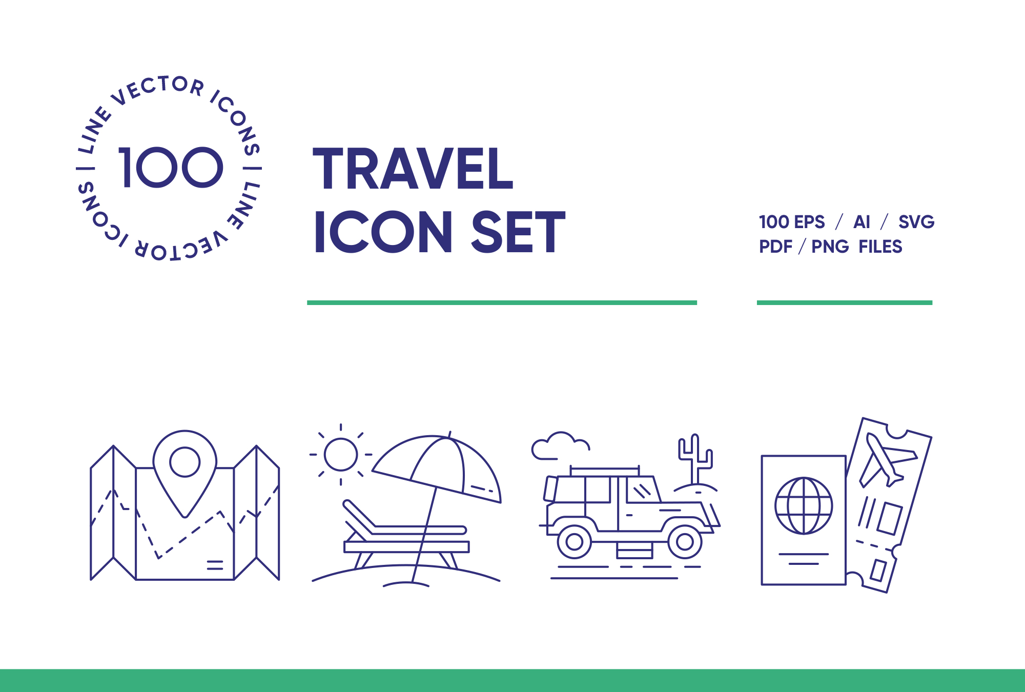Travel & Landmarks – 100 Line Icons