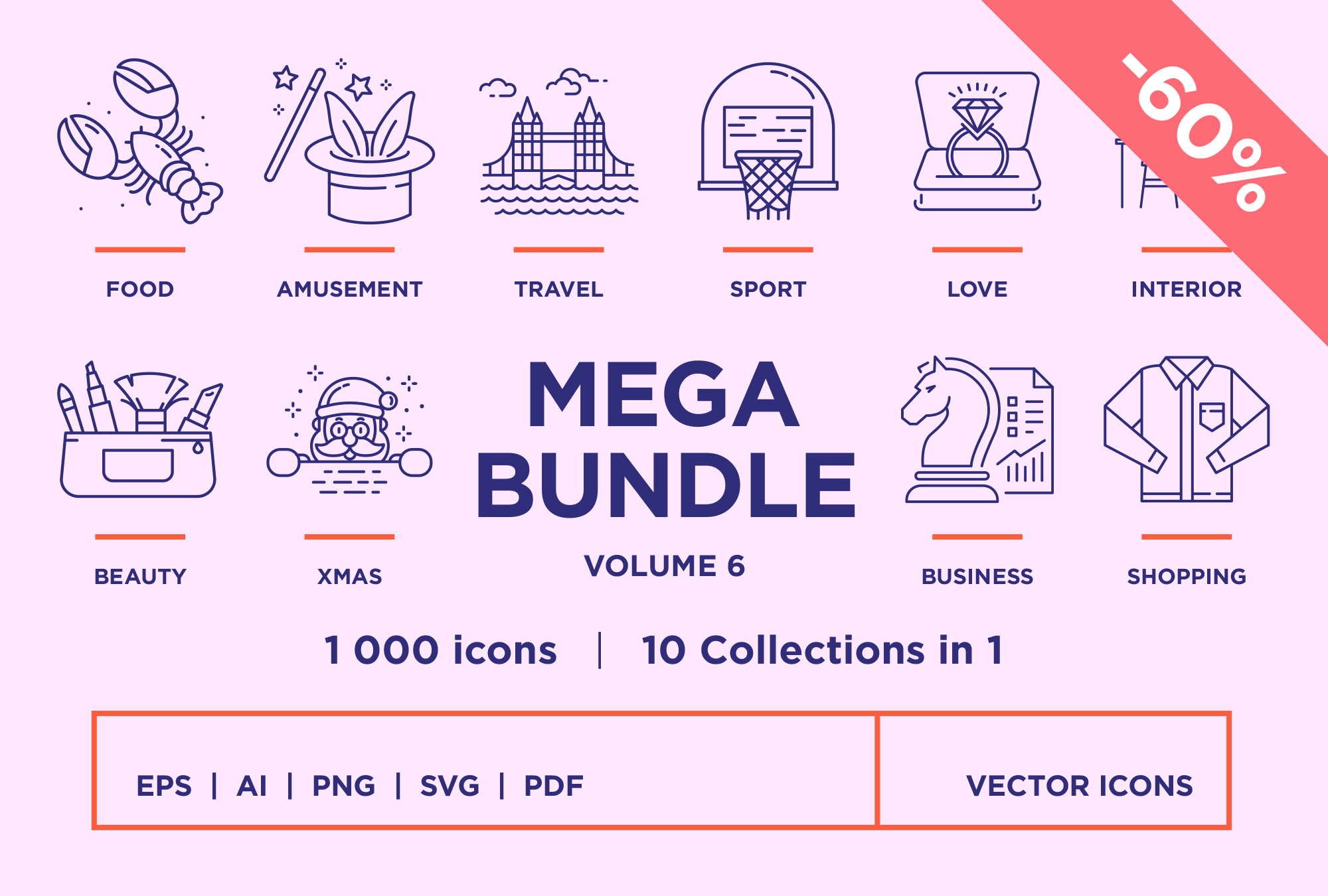 Mega Bundle Vol 6 – 1000 Line Icons