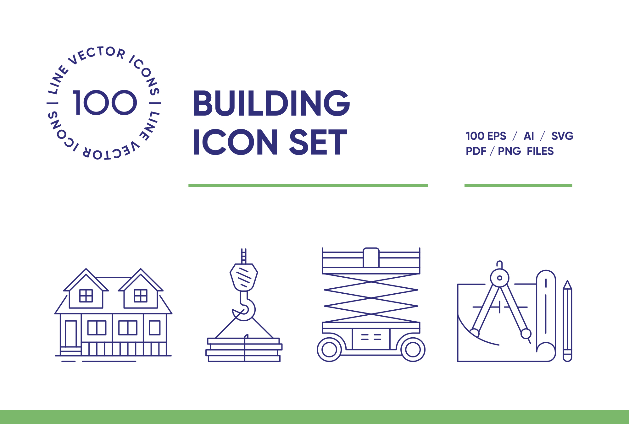 Building and Construction – 100 Line Icons