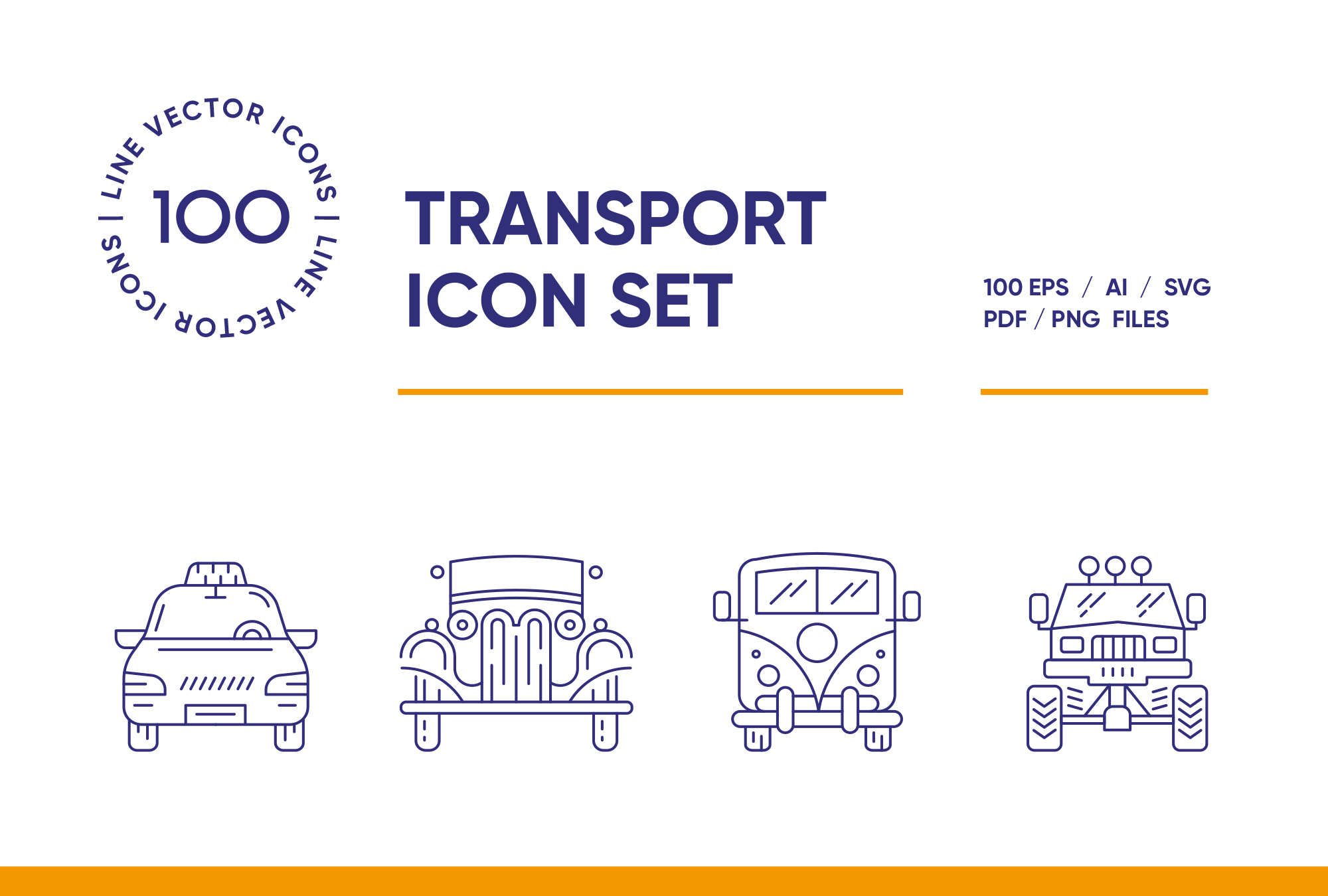 Transport – 100 Line Icons