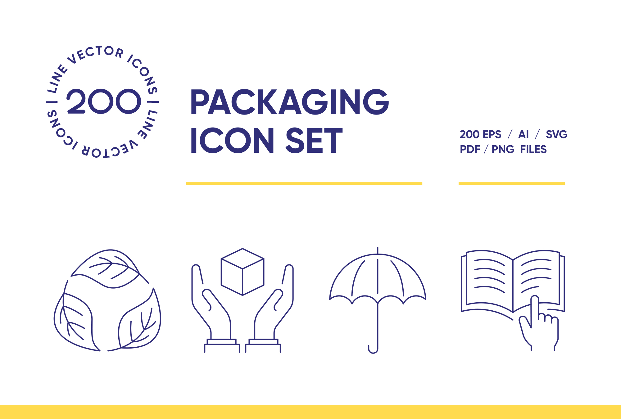 Packaging Symbols – 200 Line Icons