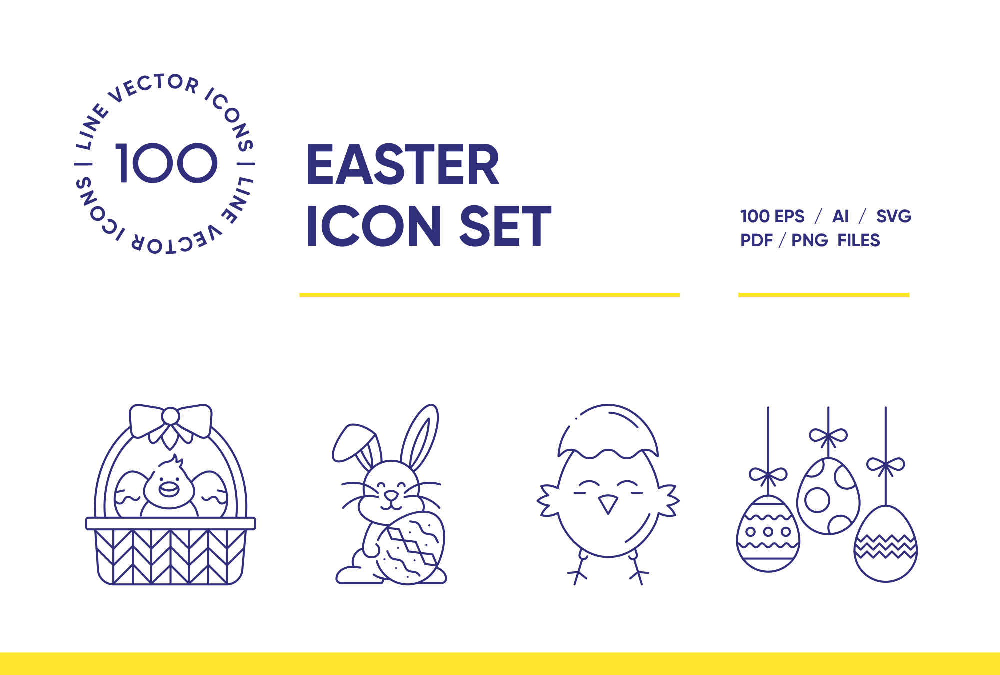 Happy Easter – 100 Line Icons