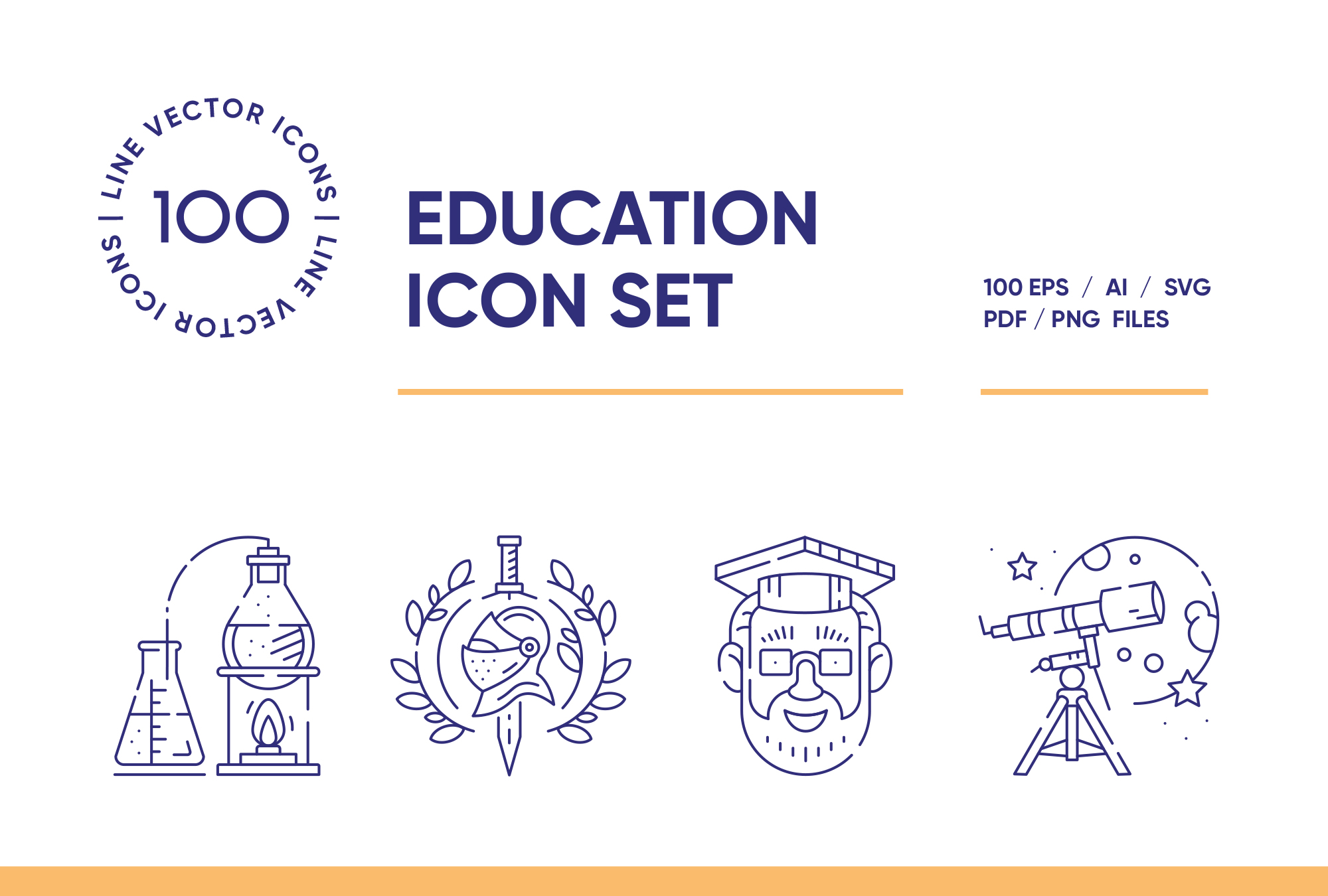 Education and Science – 100 Line Icons