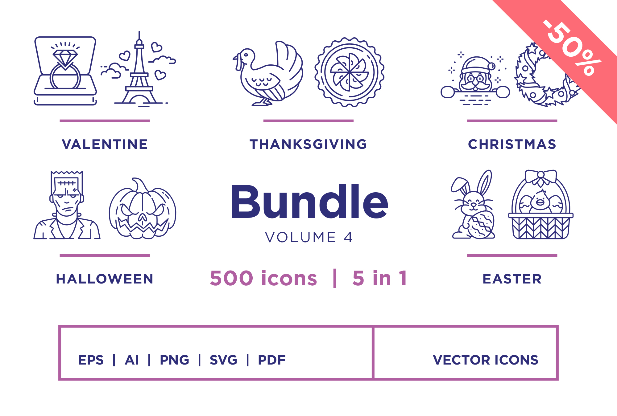 Bundle Vol 4 – 500 Line Icons