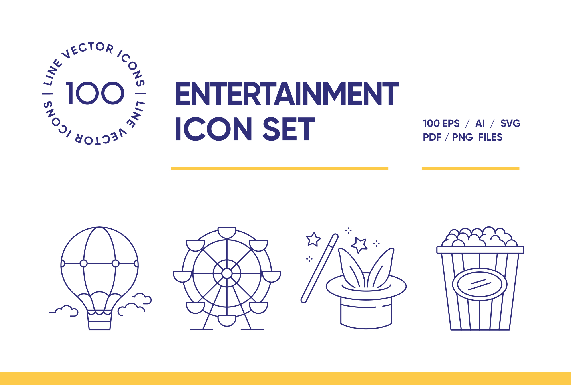 Entertainment – 100 Line Icons