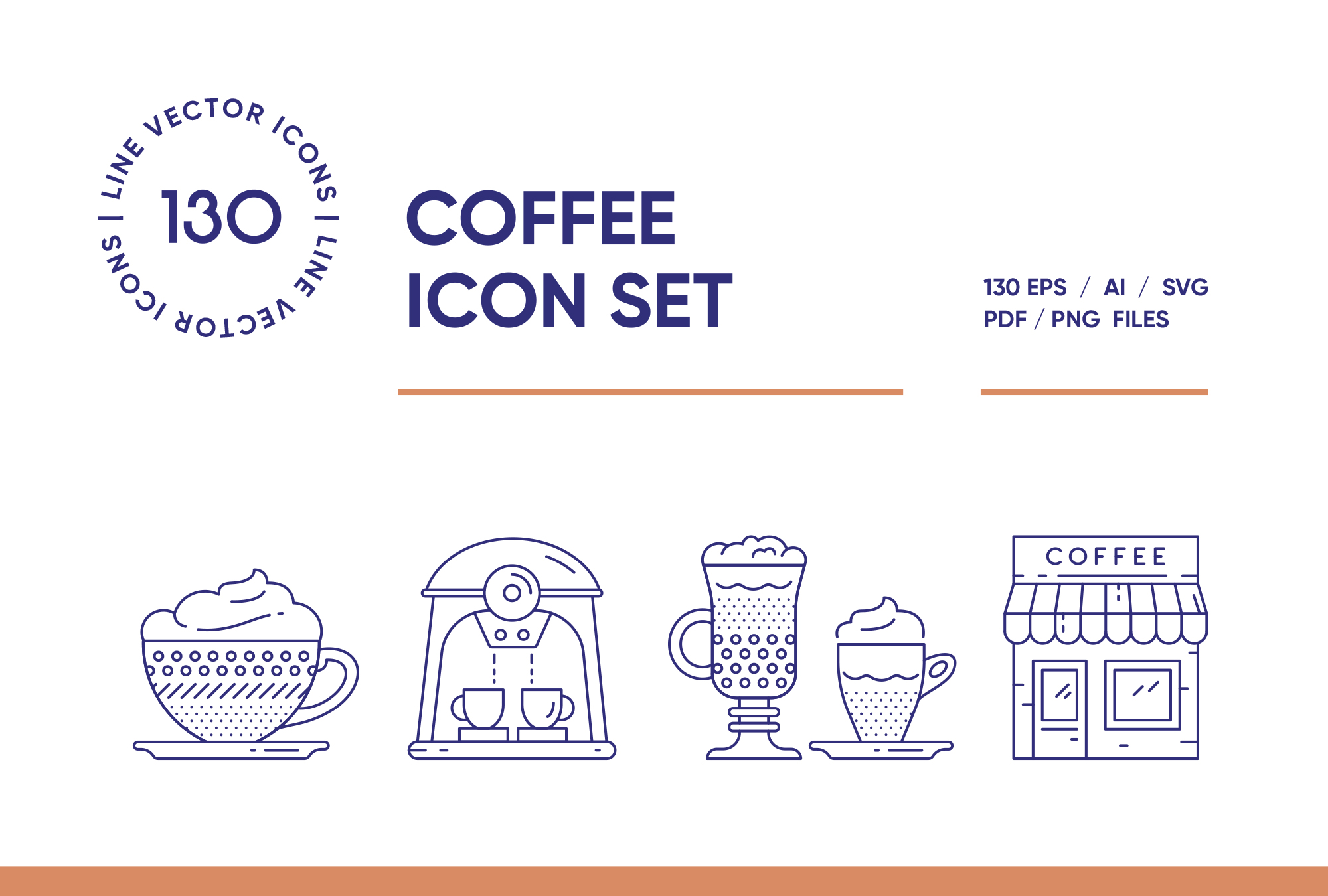 Coffee House - 130 Line Icons
