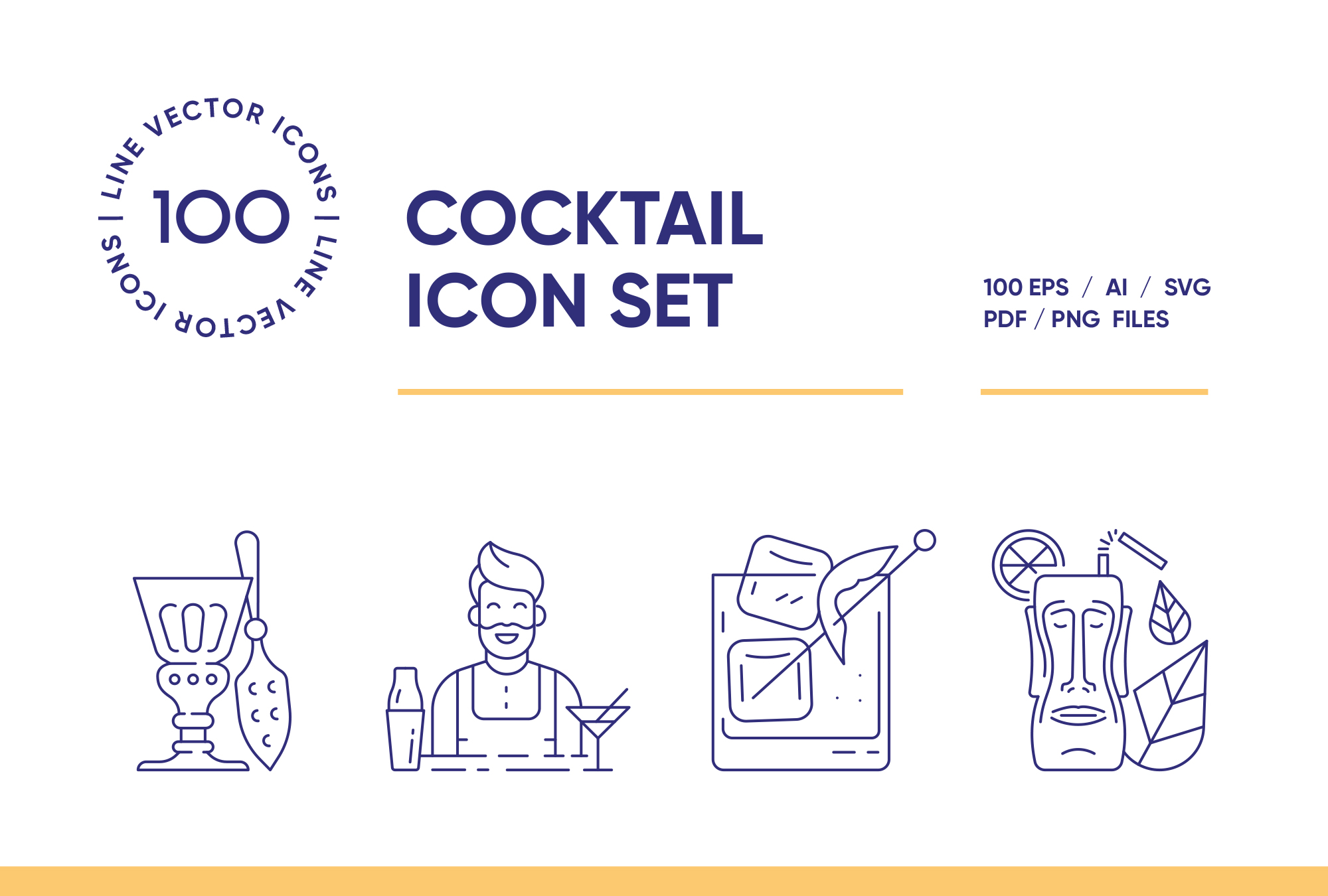 Cocktail Bar – 100 Line Icons