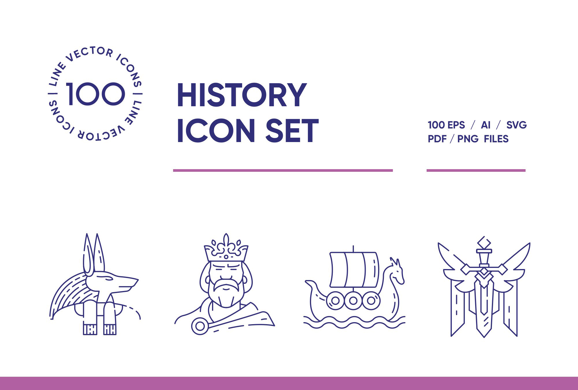 History – 100 Line Icons