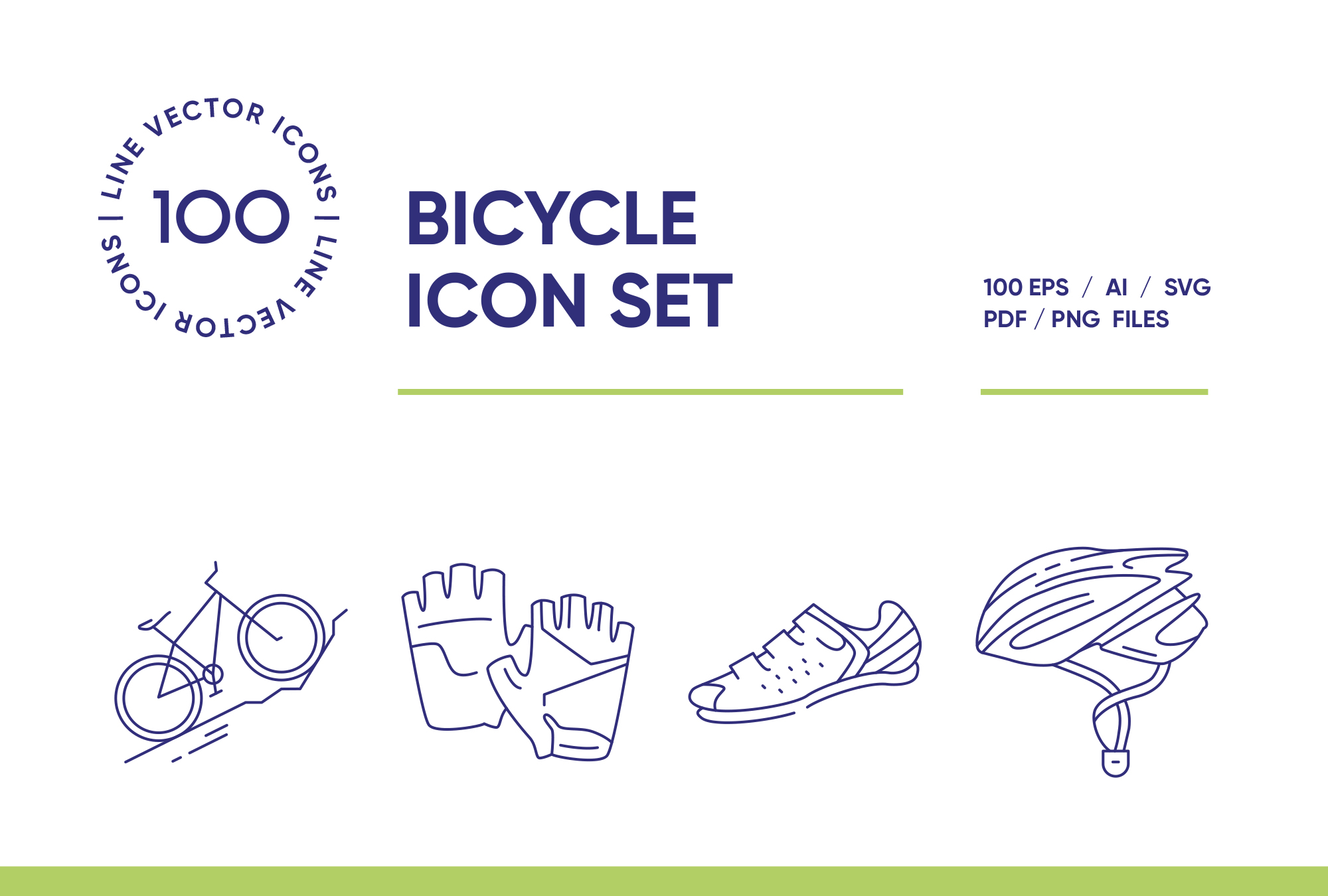 Bicycle – 100 Line Icons