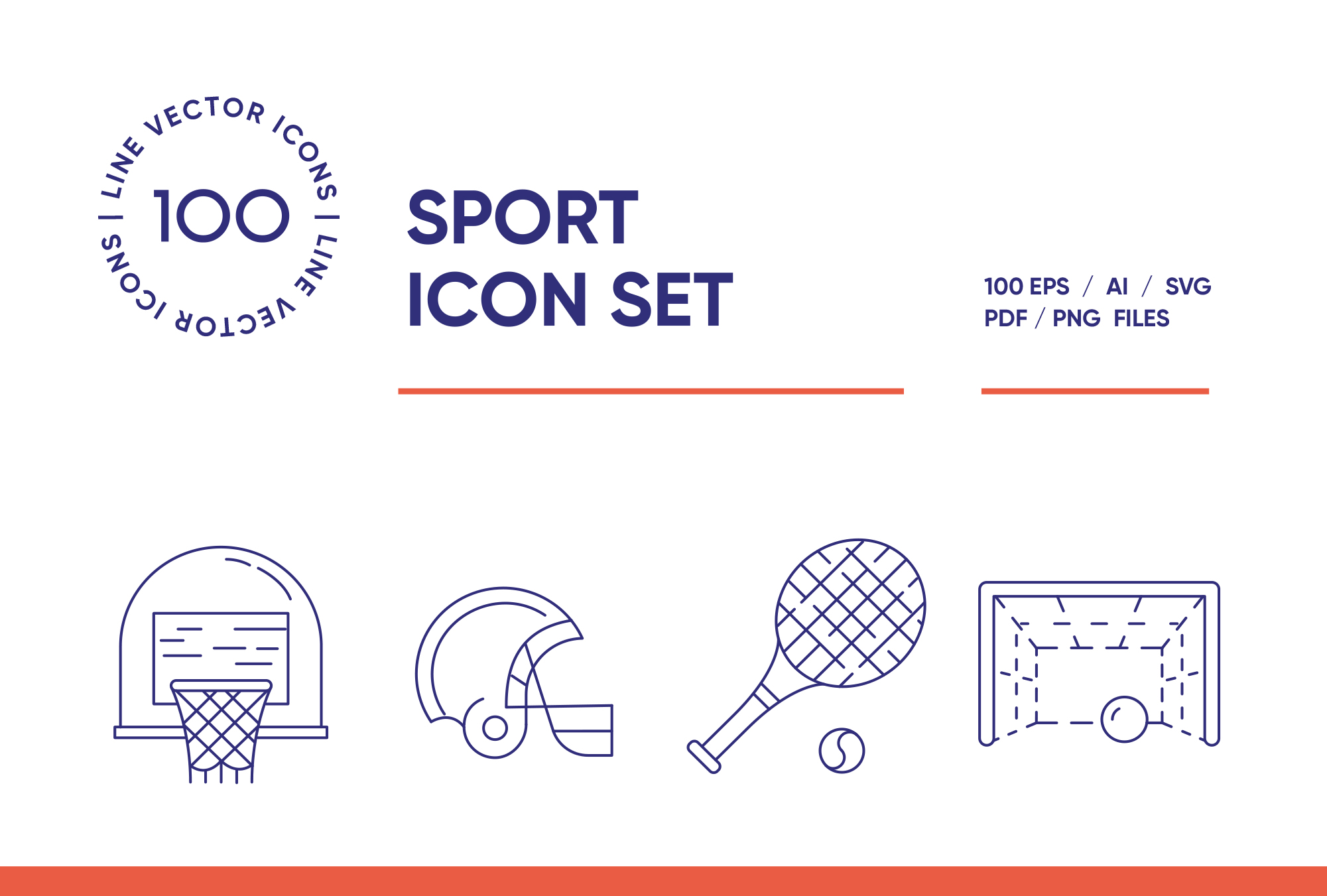 Sport & Extreme – 100 Line Icons